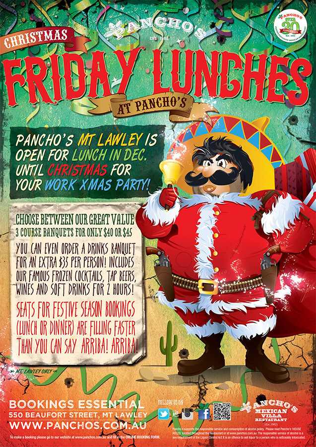 Christmas Friday Lunches at Pancho's Mexican Restaurant East Vic Park and Mount Lawley, Perth